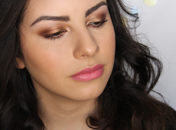 bronze gold makeup look brown eyes mac coastal scents copper pot antiqued chai spice caramel cool maybelline eyeshadows