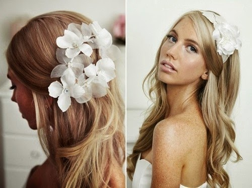 Wedding Hairstyle Flower Fresh Flowers - Wedding hairstyle romantic with flowers