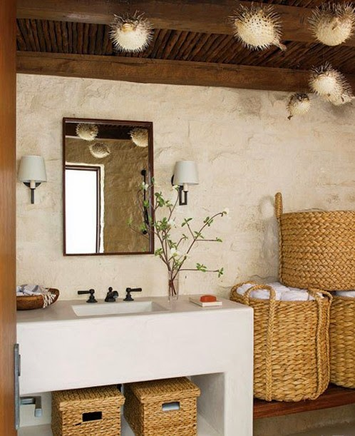 Baños Rusticos En Piedra:Las cestas además de ser accesorios funcionales también sirven para