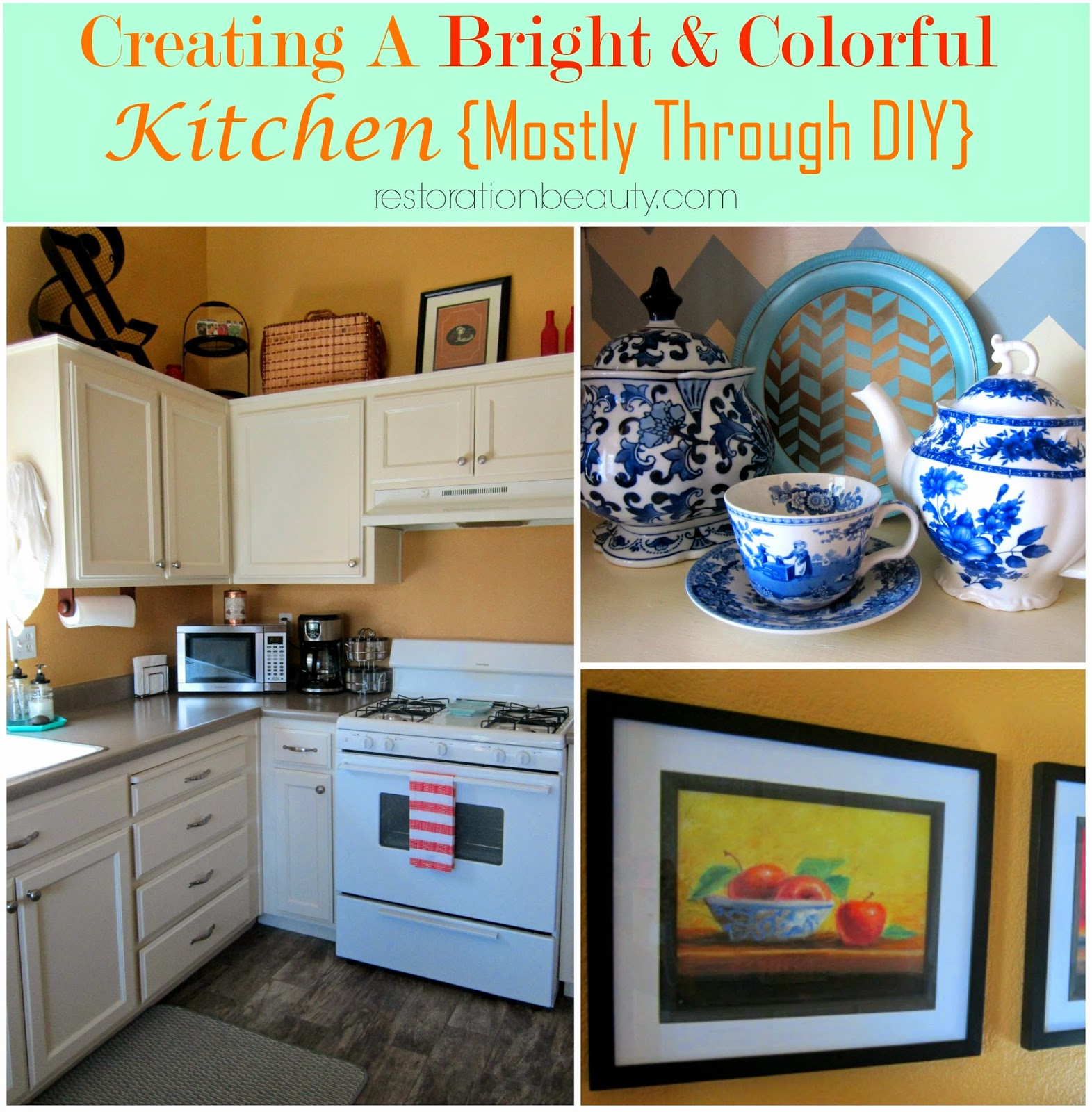 bright colorful diy kitchen