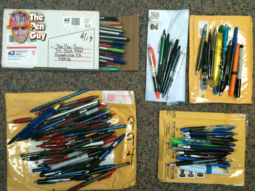 donated pens sent to the pen guy from all over