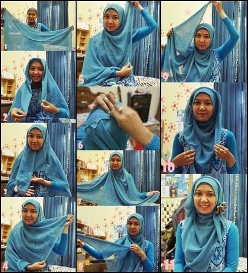Cara memakai jilbab segi empat simple modern