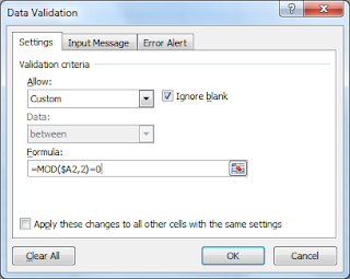 Preventing odd numbers in a range using the MOD function