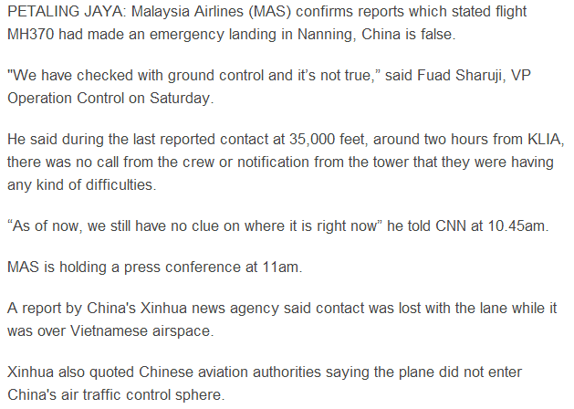Missing MH370 Report on Nanning landing not true The Star Online