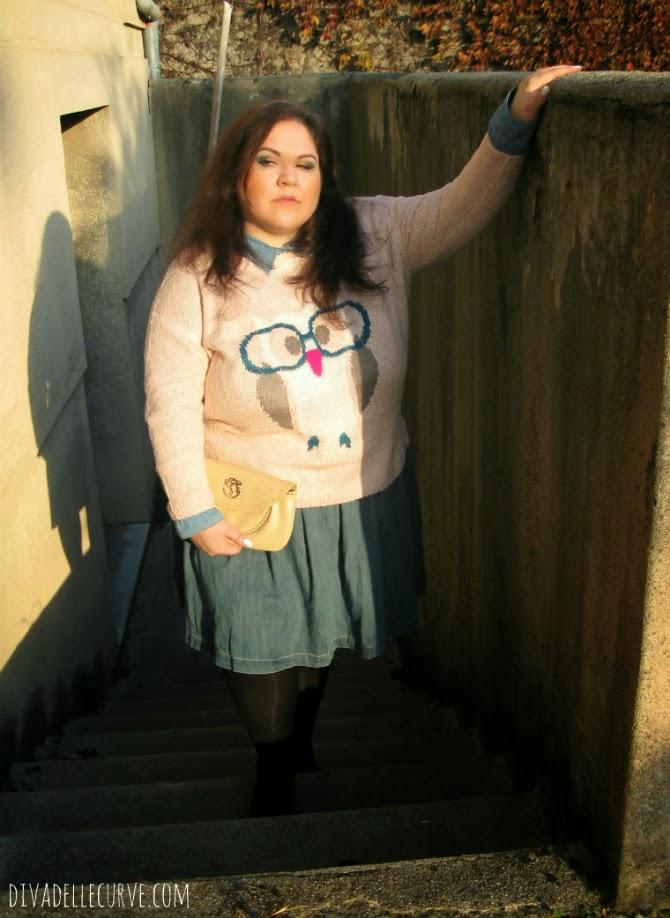 outfit plus size con denim e maglione con gufo