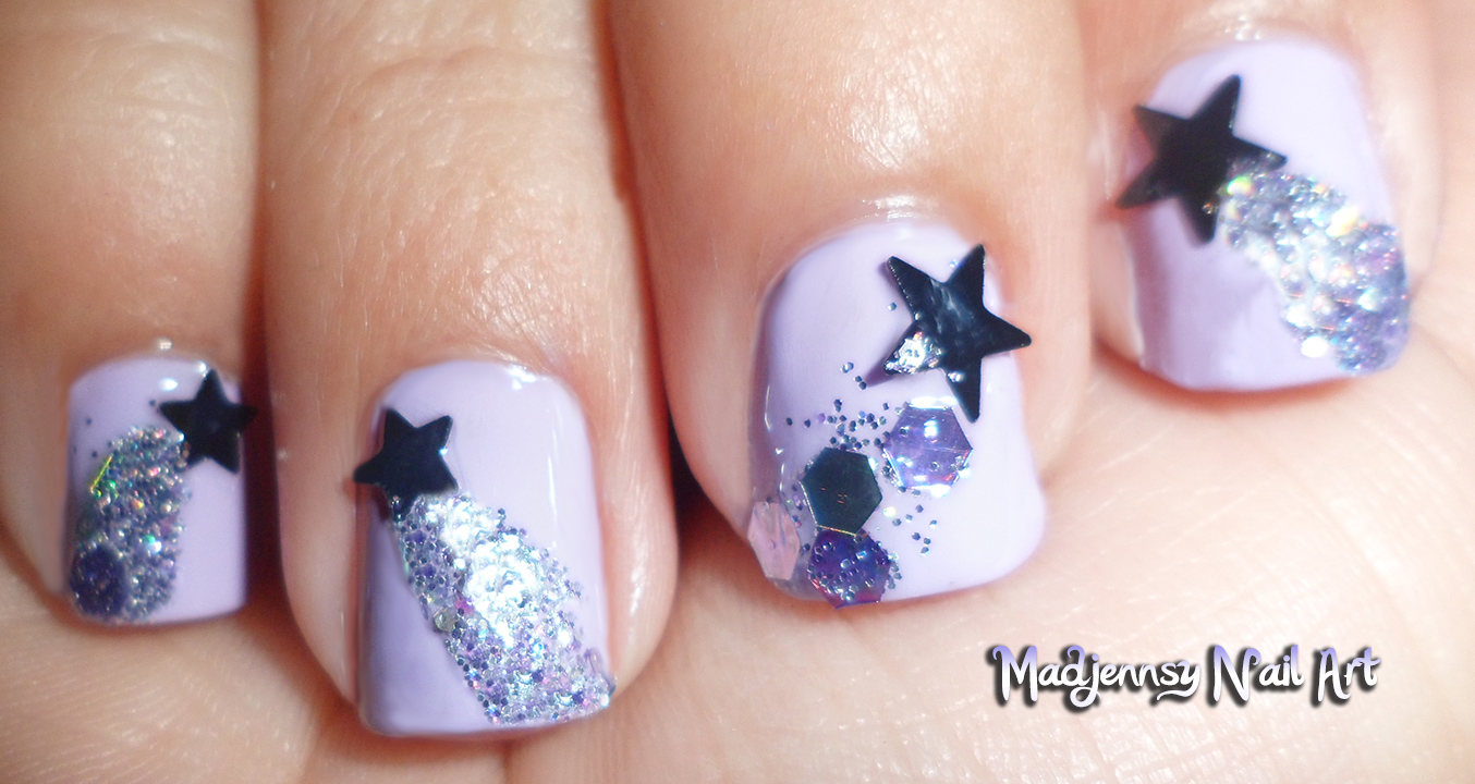 Glittery Shooting Stars Nail Art For Short Nails Diseo De