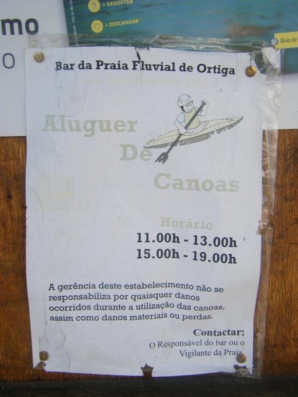 Horário do Aluguer de Canoas