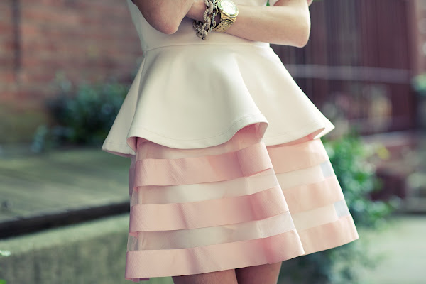 atlantic pacific ballerina pink peplum asos skater skirt kate spade shoes 