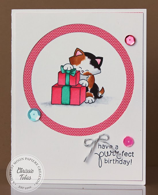 Newton's Birthday Bash Kitty Card by Chrissie Tobas for Newton's Nook Designs