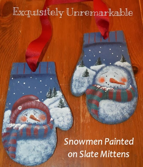 Snowmen Painted on Slate Mittens #traditions #Christmas #crafts
