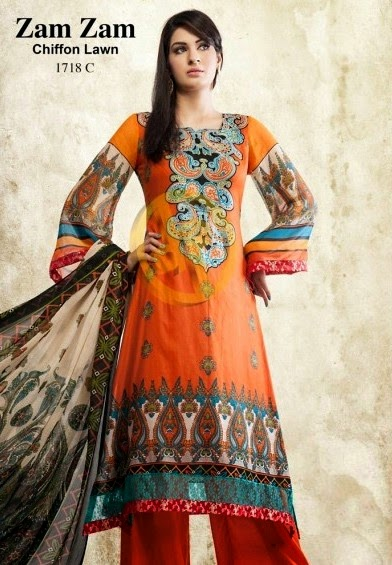 DawoodLawnsCollection2014 wwwfashionhuntworldblogspotcom 12 - Dawood Textiles Zam Zam Chiffon Lawn Collection 2014