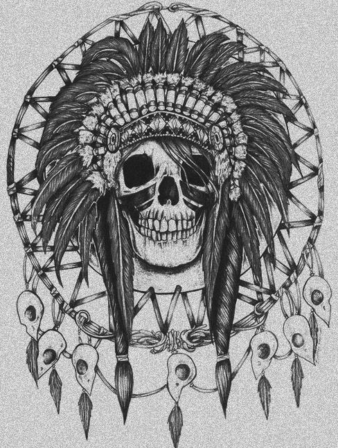Indian Headband Feathers And Female Sugar Skull Tattoo