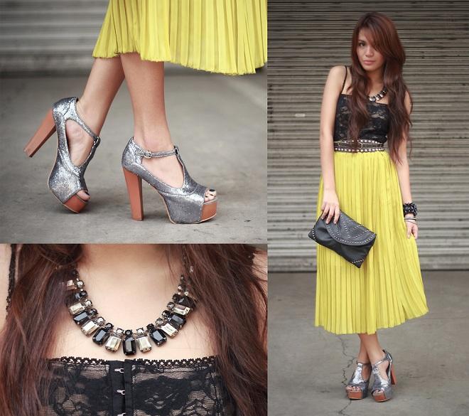 Yellow Maxi Skirt, Black Corset