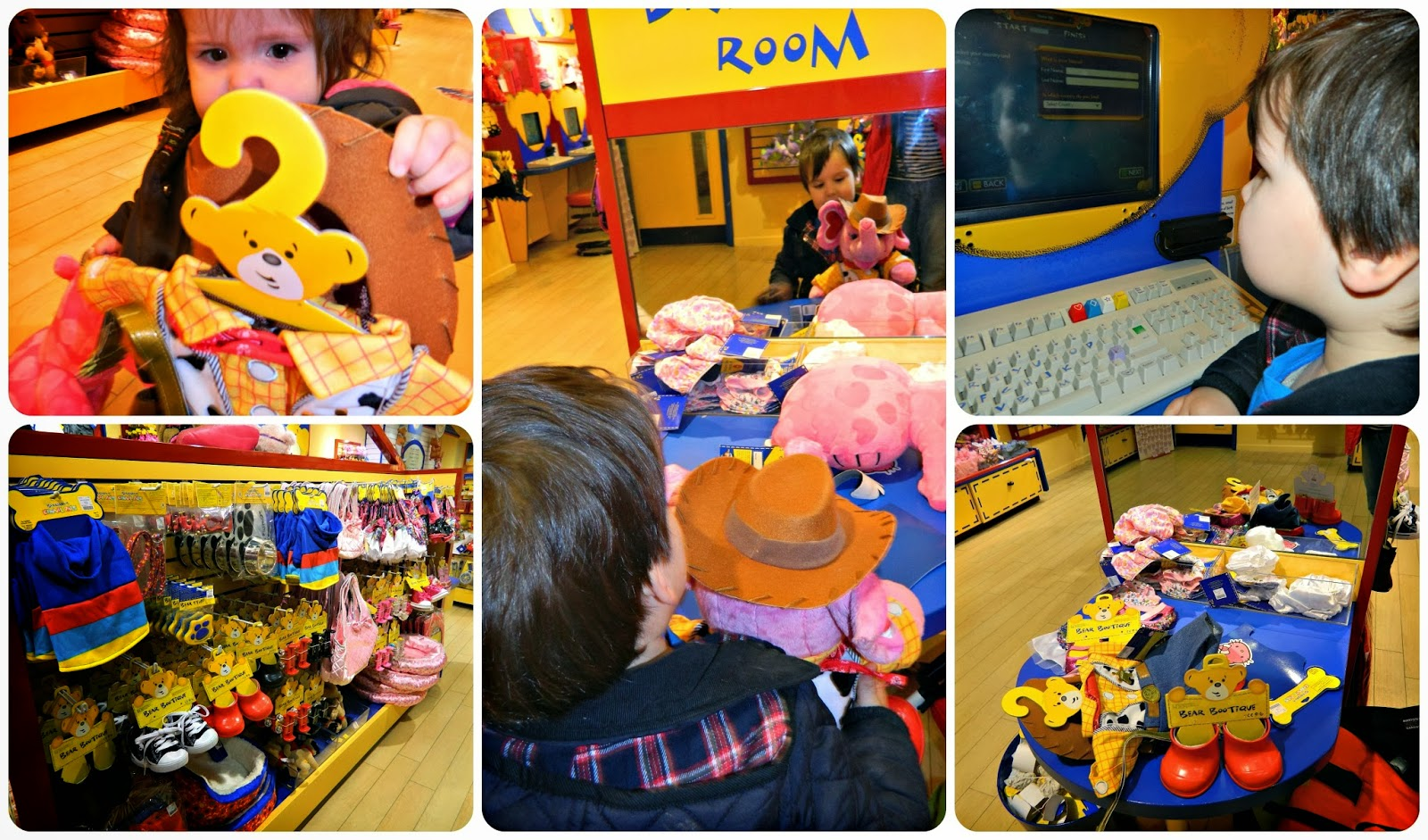 Choosing clothes and accessories and registering our bears at Build a Bear Workshop