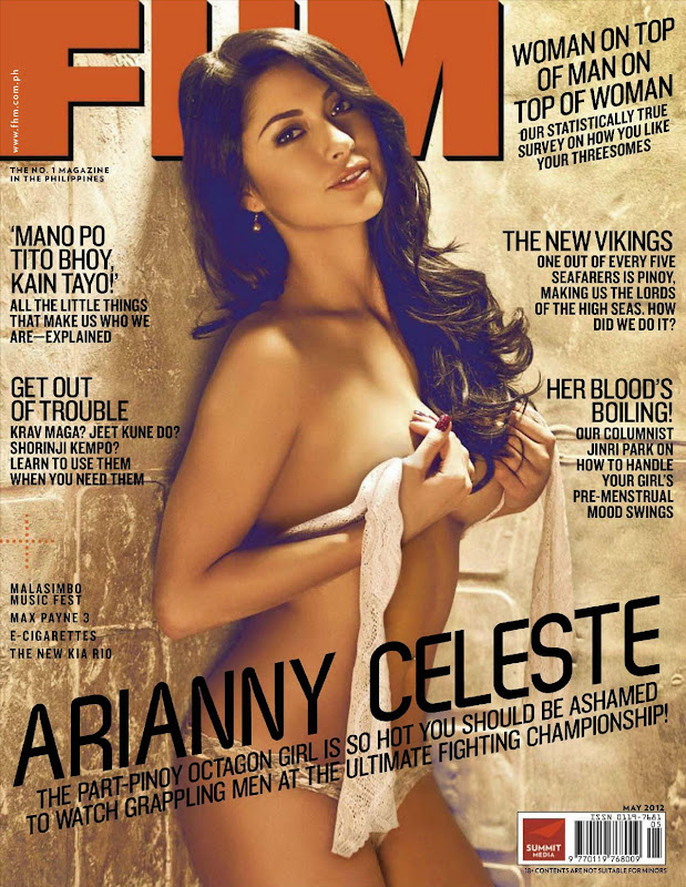 Arianny Celeste topless on the cover of May 2012 FHM Magzine, Philippines Issue