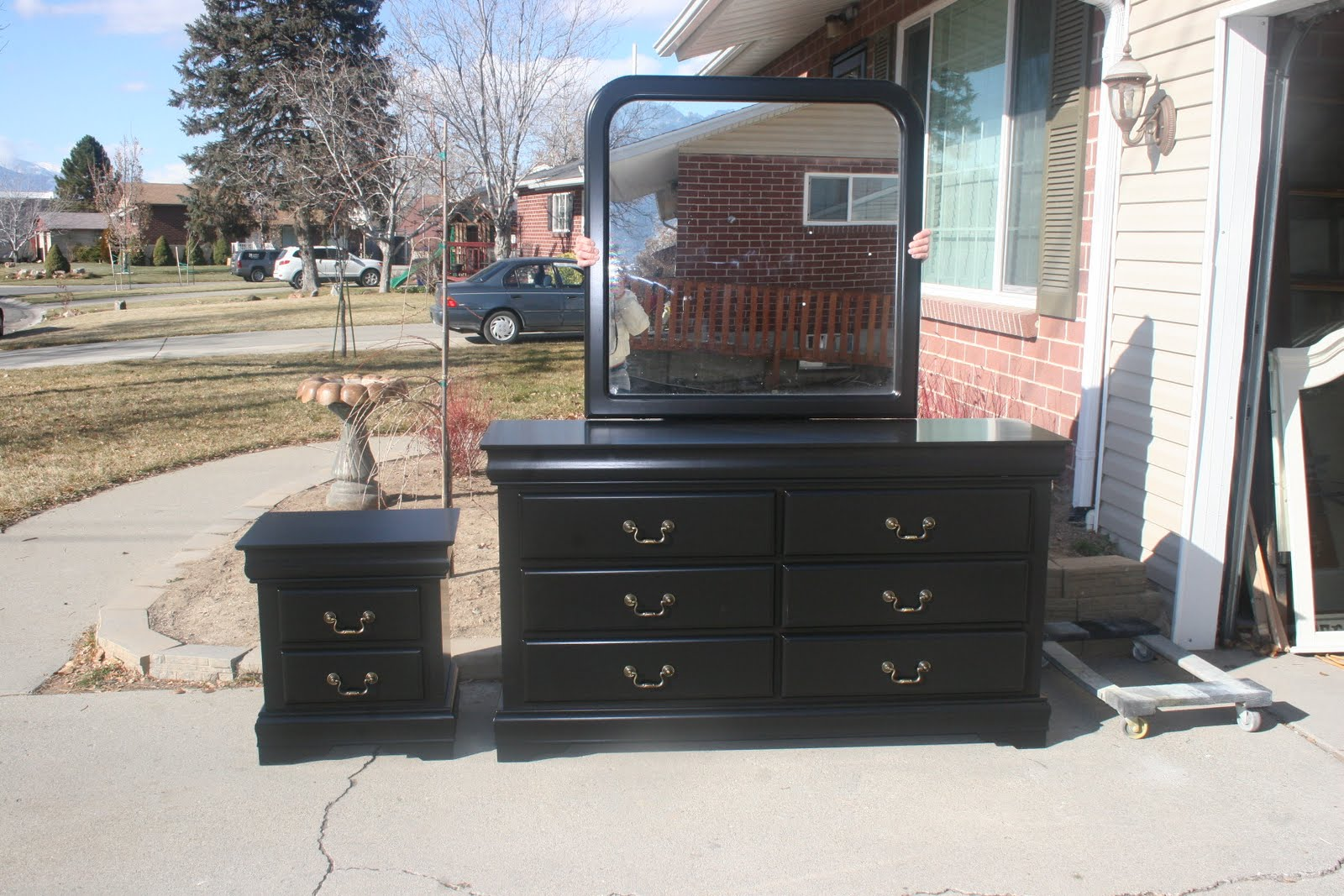 Shabby 2 Chic Design Black Dresser Set and an Update on Current Ads  Silver Plated 3 Piece. 3 Piece Dresser Set