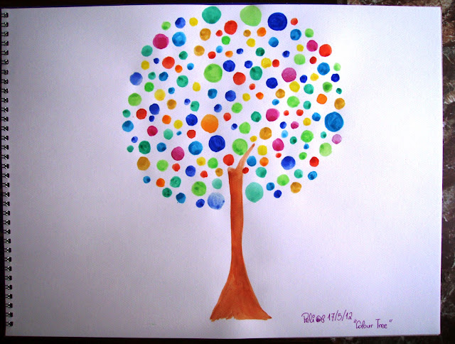 happy tree watercolour painting drawing