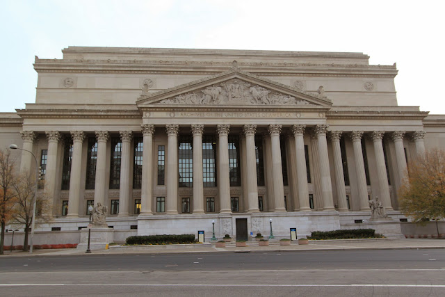 The side view of National Archives in Washington DC, USA