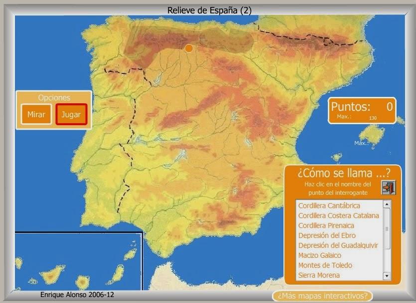 Mapa de cordilleras españolas