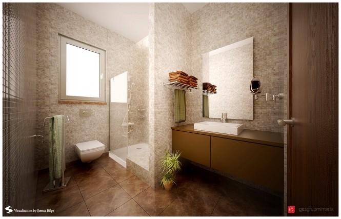 Superb Brown And Beige Mod Bathroom