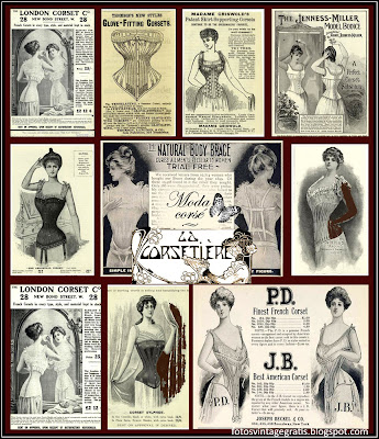 collage vintage con anuncios de corsés antiguos sobre fondo oscuro