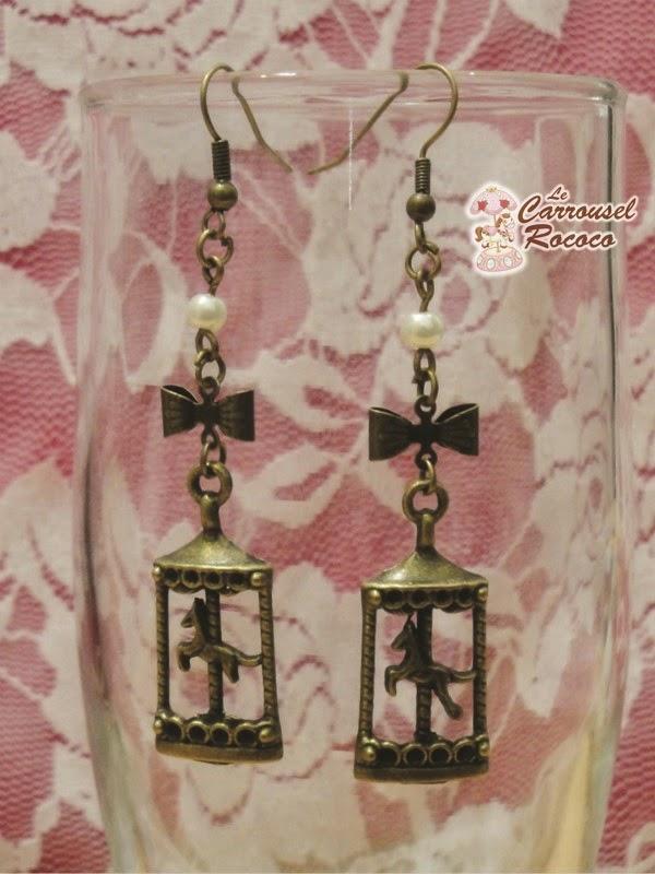 """Boucles d'Oreille Rétro Bronze Carrousels """"Au Pays des Merveilles"""" - 10,30 €"""