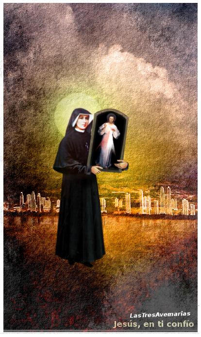 santa faustina con jesus misericordioso en cuadro