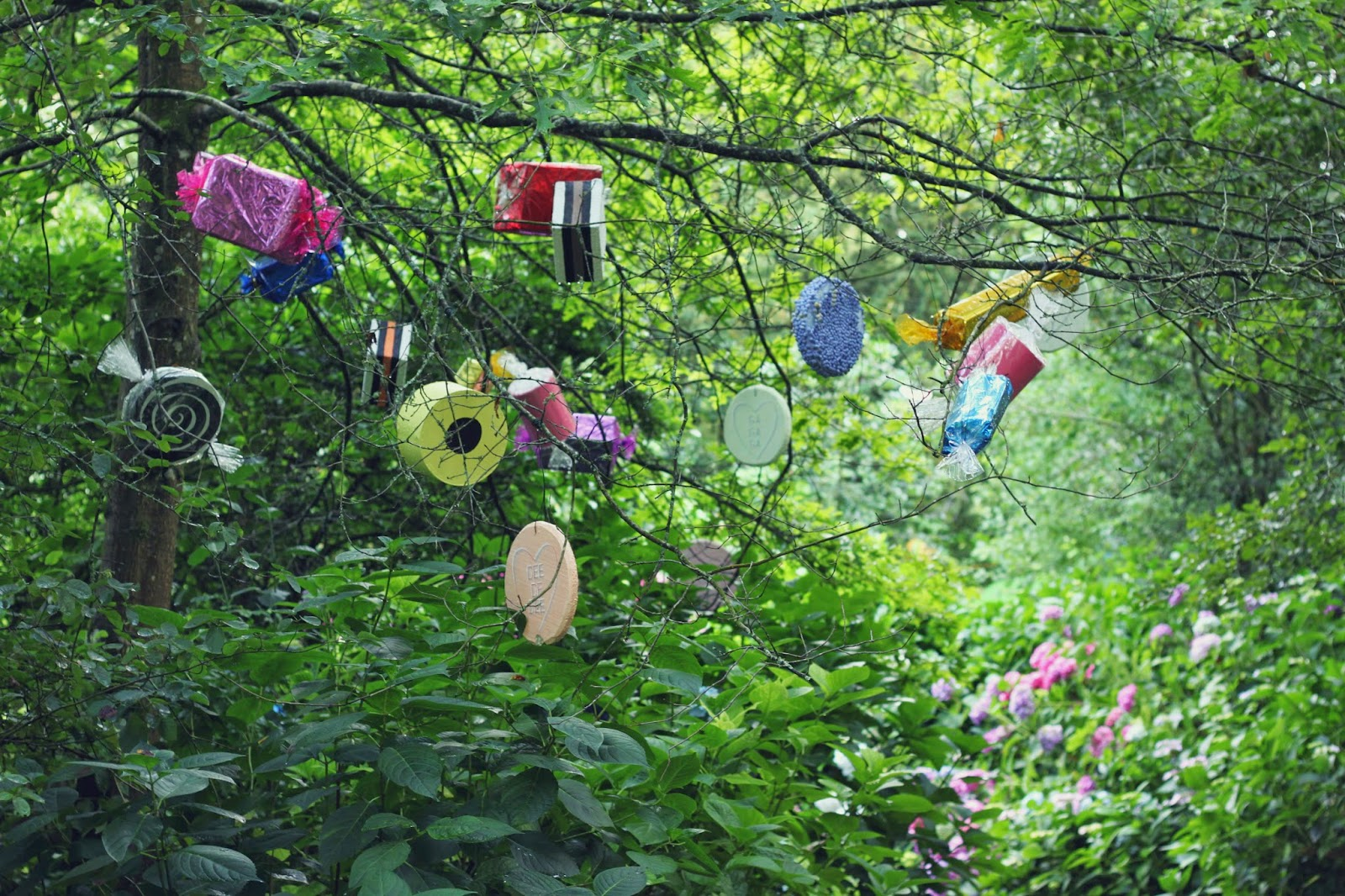 decor, festivals, Larmer Tree 2014, sweets, sculpture, woods, forest, installation