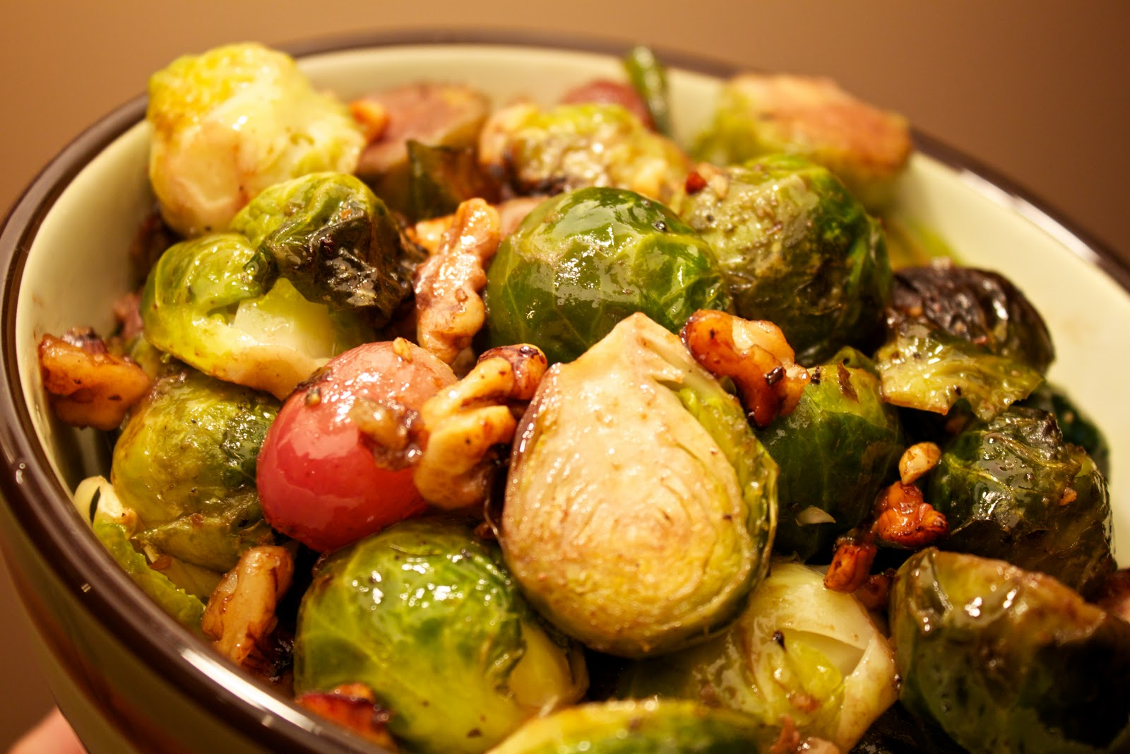 Mama Ozzy's Table: Roast Brussels Sprouts with Red Grapes and Walnuts
