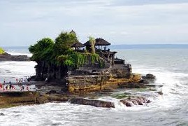 Tanah Lot Temple on a small island and the best sunset views in Bali