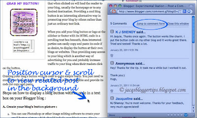 Screen shot of Blogger's pop-up window for comments, highlighted in blue
