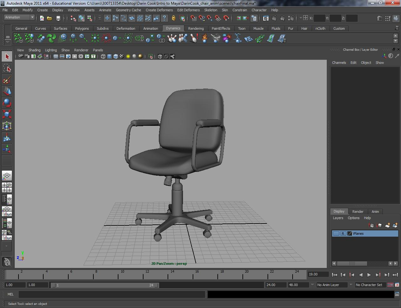 Darin 39 s animation blog office chair model in maya my for Chair 3d model maya