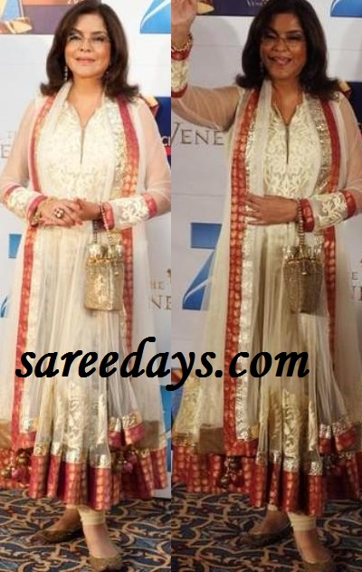 Latest Saree Designs: zeenat aman in white anarkali suit at zee ...