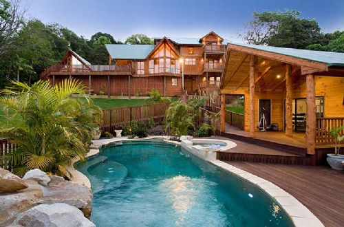 Luxury Wooden Dream House With Swimming Pool Design