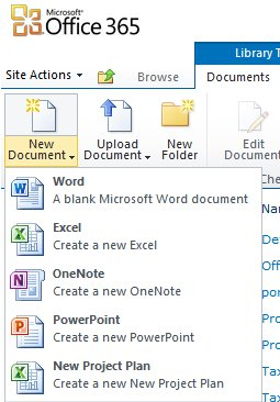 Office 365 missing create new document menu for Office 365 design document