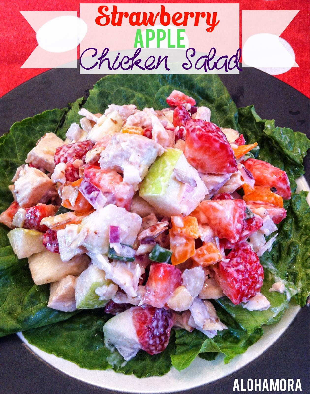 Strawberry Apple Chicken Salad.  Easy to make, ridiculously flavorful, lite and healthy with plenty of the good stuff in it.  Eat it with bread or chips/crackers.  Alohamora Open a Book http://alohamoraopenabook.blogspot.com/