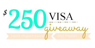 giveaway, VISA giveaway, blogger giveaway, heartshapedsweat
