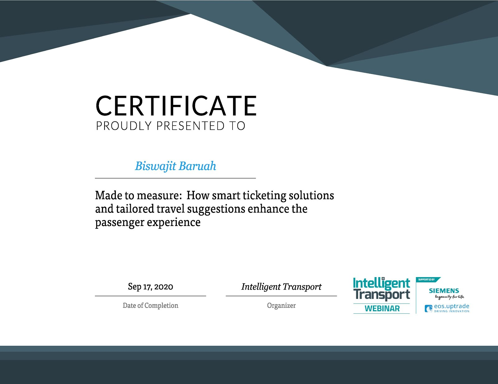 CERTIFICATE FOR ATTENDING INTELLIGENT TRANSPORT (UNITED KINGDOM) AND SIEMENS MOBILITY WEBINAR