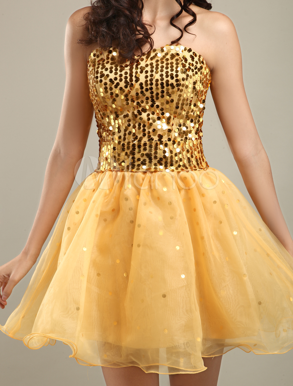 China Wholesale Clothes - Sweet Gold Strapless Sweetheart Mini Length Yarn Cocktail Dress