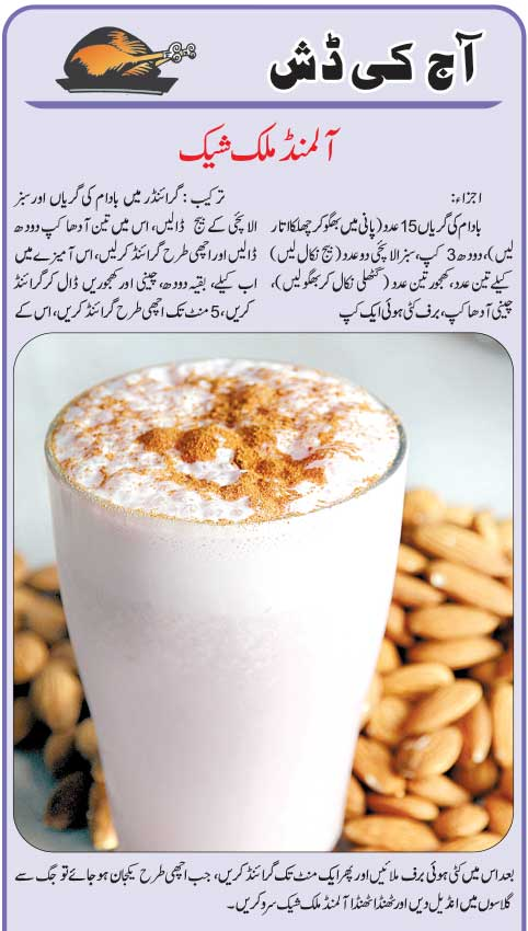 Daily Cooking Recipes In Urdu Almond Milk Shake Recipe In