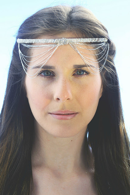 sterling silver chain headpiece- catherine masi