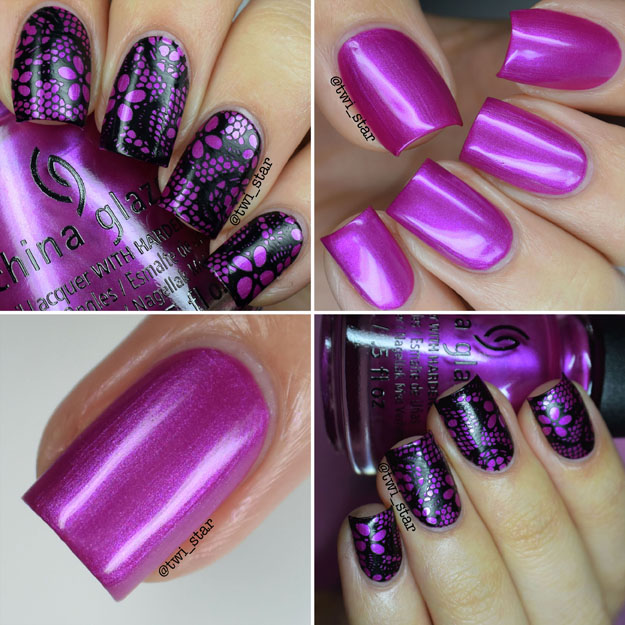 China Glaze Don't Desert Me black lace stamping nail art