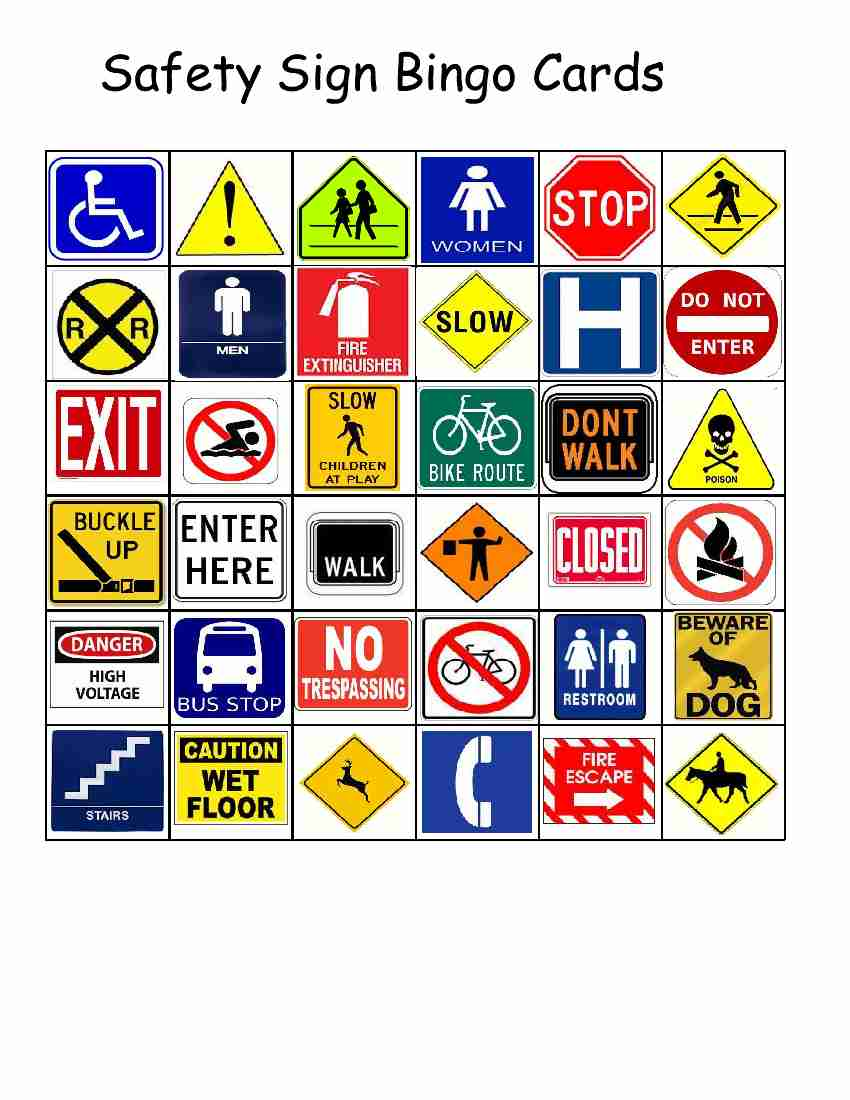 Empowered By Them Safety Sign Bingo