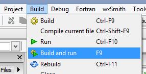 build compile run codeblocks project