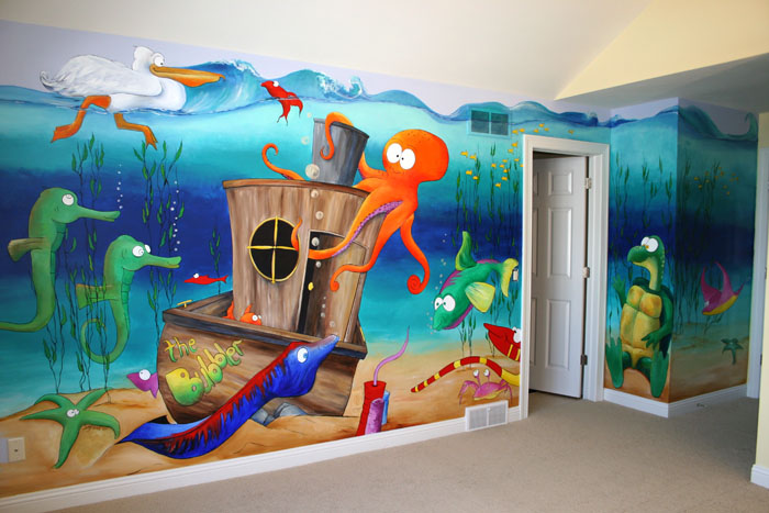Wall decal quotes wall mural ideas for kids under the sea for Childrens room mural