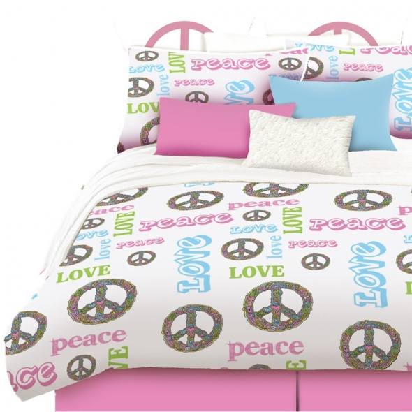 DORMITORIOS PEACE AND LOVE BEDDING Peace Sign Comforters
