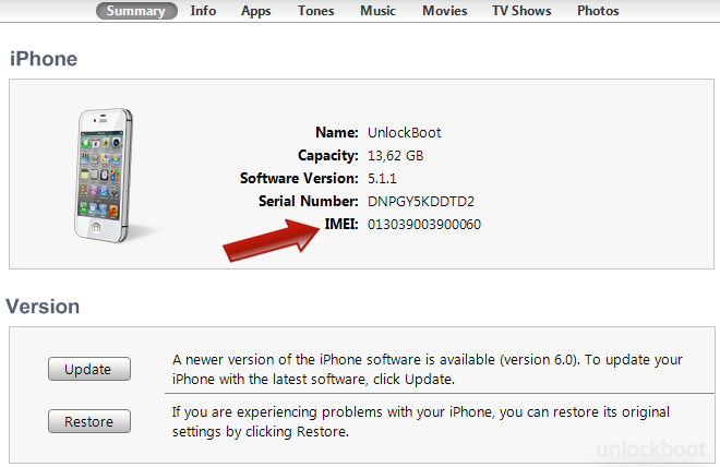 Find iPhone 4S IMEI code via iTunes