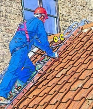 Workman or builder on a roof