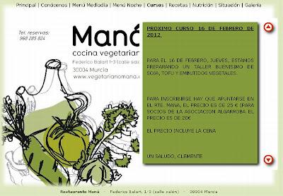Convocatoria taller y cena en Restaurante Maná.