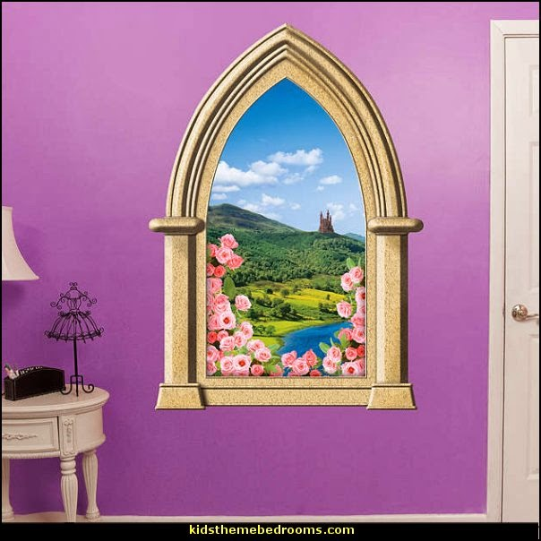 Fairy tale castle instant window wall decal mural fathead for Fairy castle mural
